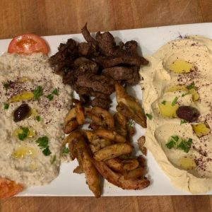 lamb platter mediterranean food